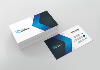Business Card Layout with Blue Elements