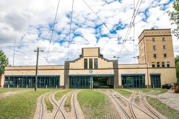 Straßenbahn Betriebshof und Himmel, Augsburg