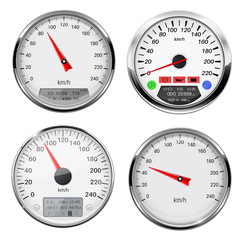 Speedometers and tachometers. Car dashboard gauges with chrome frame