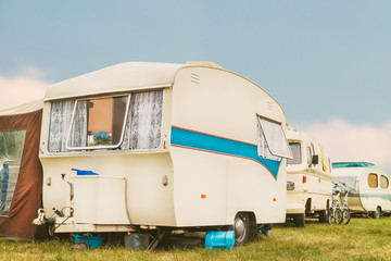 Vintage caravans and mobile homes on a camping site