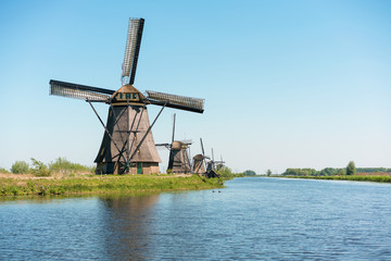 Netherlands windmills and water canal at KInderdijk.