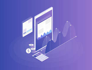 Concept business strategy. Analysis data and Investment. Business success.Financial review with the phone and infographic elements. 3d isometric flat design. Vector illustration
