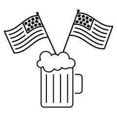 cold beer drink and american flags celebration