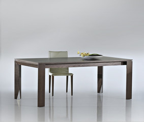 Modern wooden dining room table and chairs