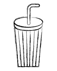 disposable paper cup soda with straw