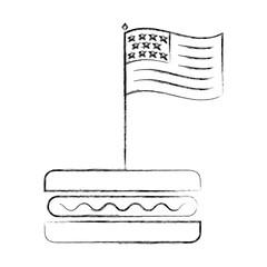 american flag in hot dog fast food