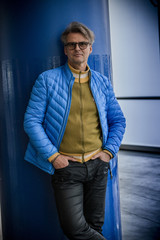 Man with blue jacket