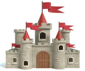 3d illustration of a cartoon castle