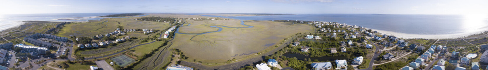 360 degree aerial view of Harbor Island, South Carolina oceanfront properties.