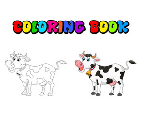 cartoon female cow coloring book design isolated on white