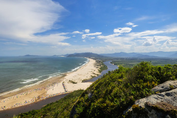 Guarda do Embau beach from above in summertime - Santa Catarina, Brazil