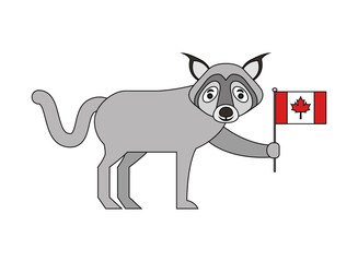 wolf holding canadian flag character