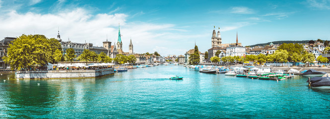 Zürich city panorama with Limmat river in summer, Switzerland