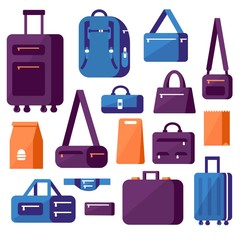 Large set of bags, suitcases and backpacks. Flat style.