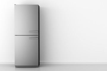 modern fridge in front of white wall