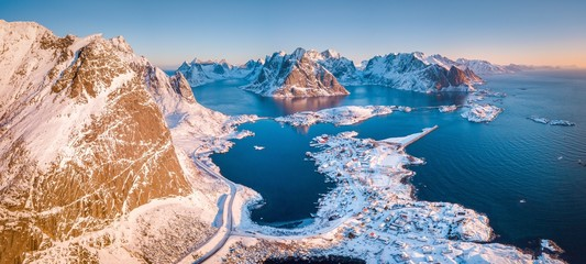 Lofoten winter scenery panorama at sunrise, village of Reine, Norway