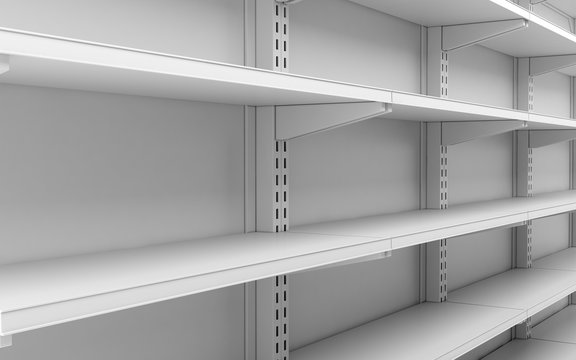 closeup empty white supermarket shelves