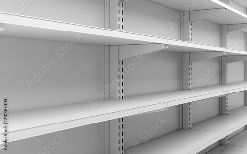 Excellent Closeup Empty White Supermarket Shelves Stock Photo And Home Remodeling Inspirations Genioncuboardxyz