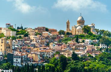 Fotorolgordijn Algerije Notre Dame d'Afrique, a Roman Catholic basilica in Algiers, Algeria