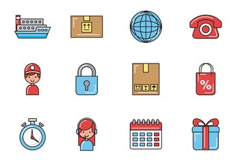 20 Colorful Travel and Commerce Icons