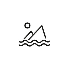 Seascape line icon. Ocean, island, coast. Travelling concept. Vector illustration can be used for topics like tourism, vacation, journey