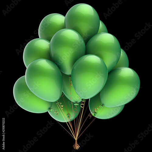 Green Helium Balloons Bunch Party Decoration Clic Ilration Isolated On Black