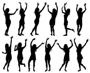 Illustration with happy women silhouettes isolated