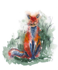 Red fox in forest. Watercolor illustration. Cute sitting animal. Autumn print.