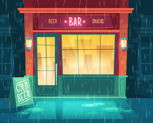 Vector background with bar at bad weather, rain. Facade of building with illumination, signboard. Entrance of fast food taproom with beer and snacks. Outdoor architecture background