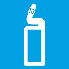 Plastic bottle of drain cleaner icon white isolated on blue background vector illustration