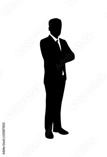 standing businessman silhouette cartoon royalty free - 342×500