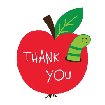 Thank you Teachers Day card with an apple and a worm