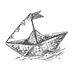 Paper boat with  flag. Sketch. Engraving style. Vector illustration.