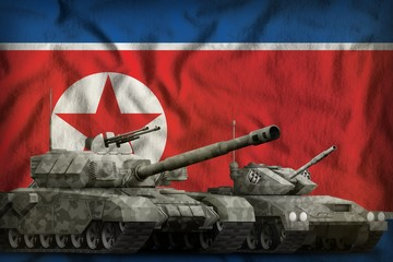 Democratic Peoples Republic of Korea (North Korea) tank forces concept on the national flag background. 3d Illustration