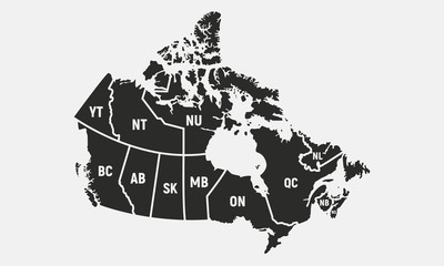 Canadian map with short provinces and territories names. Canada background. Vector illustration Fototapete