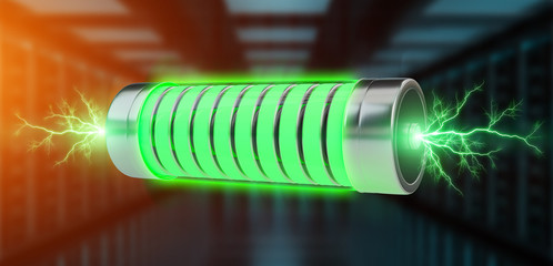 Green battery with lightnings 3D rendering