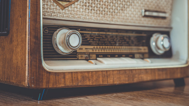 Vintage Radio On Wooden Table