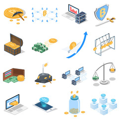 Isometric 3D vector illustration concept of cryptocurrency. A collection of illustrations related to cryptocurrency.