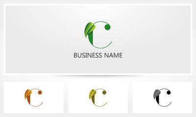 Letter C Leaf Sprout Logo