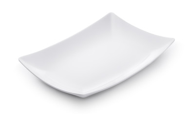 White empty rectangular dish