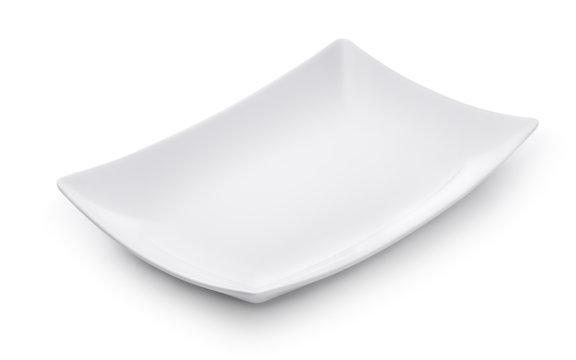 White empty rectangular dish