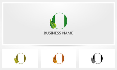 Letter O Leaf Sprout Logo