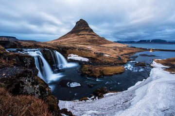 Spectacular sky above the scenery and waterfalls, Kirkjufell Mountain, Iceland.