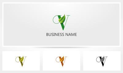 Letter V Leaf Sprout Logo