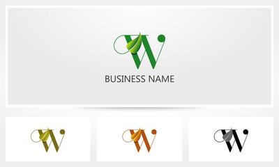 Letter W Leaf Sprout Logo