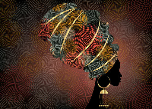 portrait beautiful African woman in traditional turban, Kente head wrap African, Traditional dashiki printing, black women vector silhouette, batik , with traditional gold earrings, hairstyle concept