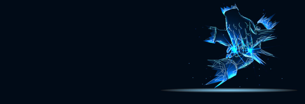 Close up top view of business people putting their hands together. Banner. Abstract image of a starry sky or space, consisting of points, lines, n the form of stars and the universe. Low poly vector