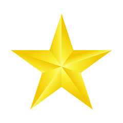 one beautiful decorative gold star isolated white,vector illustration