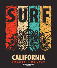 Vector illustration on the theme of surf rider and surfing in California