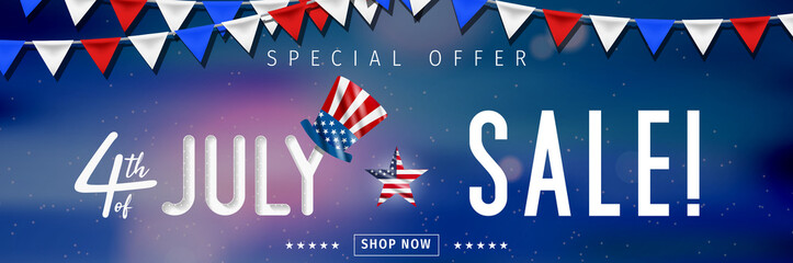 Banner for 4th of July Sale design. Independence day sale with 3d percent symbol. Vector illustration for business promotion.